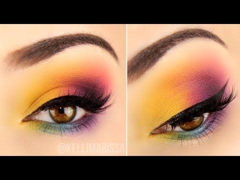 easy drugstore rainbow eye makeup tutorial  rainbow eye