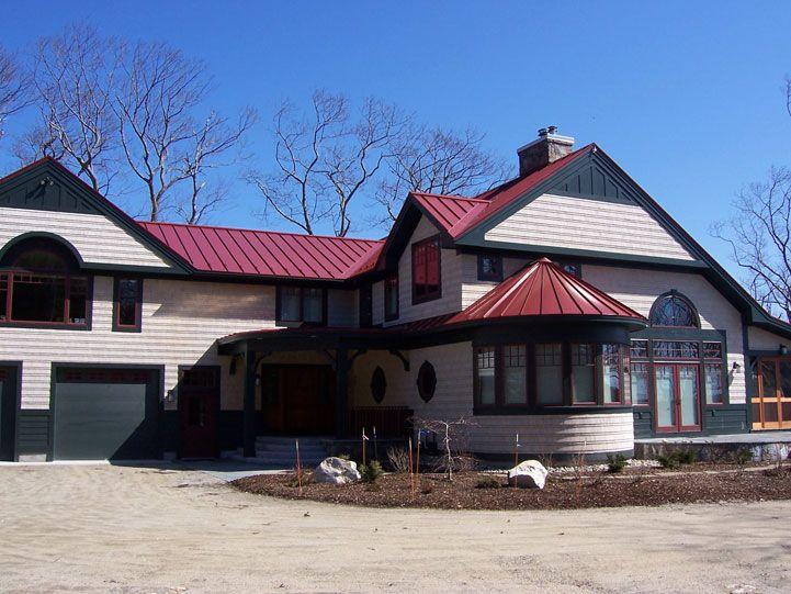 Drexel Metals Colonial Red Metal Roof With Tapered Panels Metal Roof Houses House Roof Metal Roof