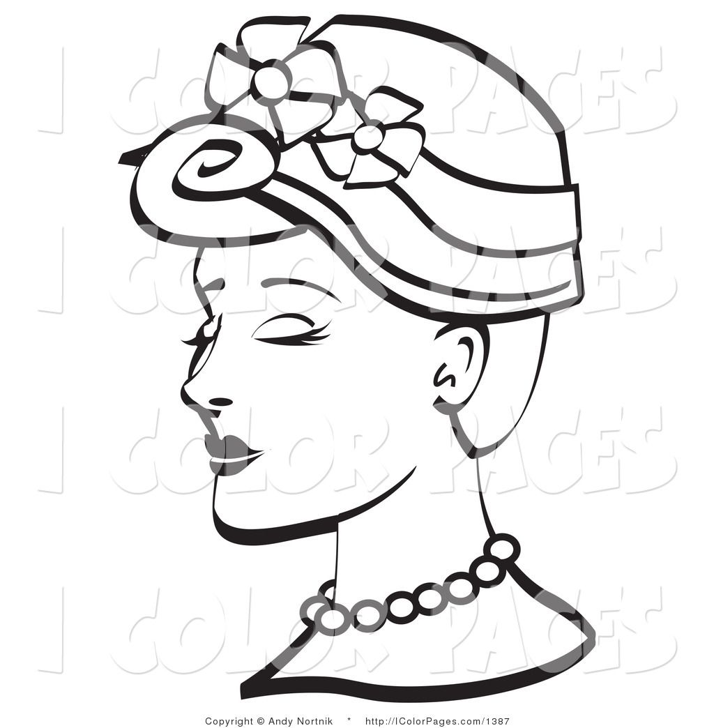 vector coloring page of a vintage woman in a floral hat - Vintage Coloring Pages