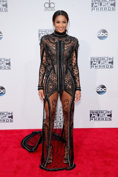 Ciara looked fierce in a black sheer dress that had a floor-skimming train and intricate details to show off the singer's figure.