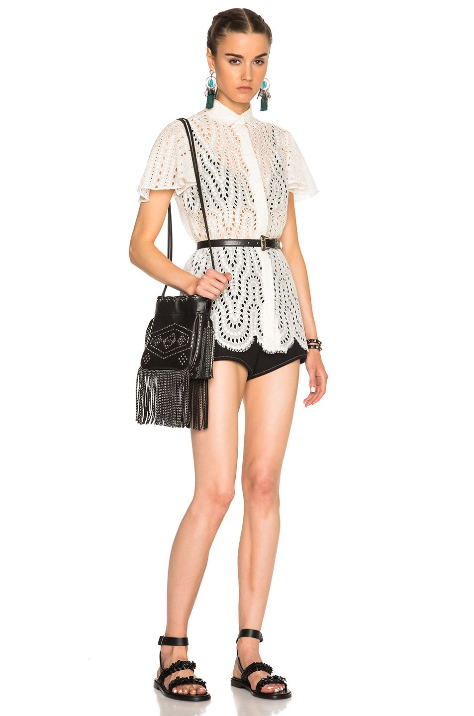 Image 5 of Valentino Short Sleeve Flutter Sleeve Top in Ivory