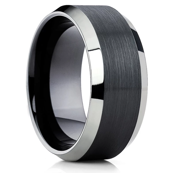 10mm Black Tungsten Ring Tungsten Wedding Band Men S Black Ring Black Tungsten Rings Black Rings Mens Wedding Bands Tungsten