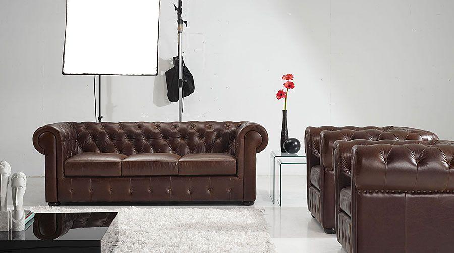 Sofa lord chester piel capitone marron material metal este sofa lleva una piel encerada - Sofa piel marron ...