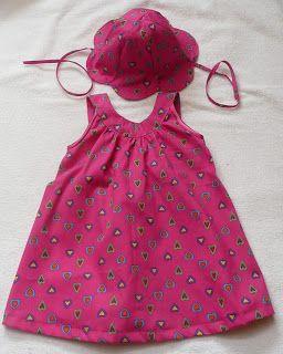 cad3b7f244c62 CAUTY bricole  Robe d été avec chapeau assorti pour filles