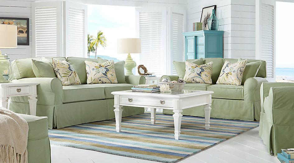 Cindy Crawford Home Beachside Green 7 Pc Living Room From Furniture