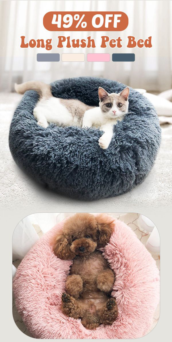 Long Plush Super Soft Pet Round Bed Kennel Dog Cat Comfortable Sleeping Cusion Pet Sleeping Bed Pet Beds Plush Pet Bed Sleeping Dogs