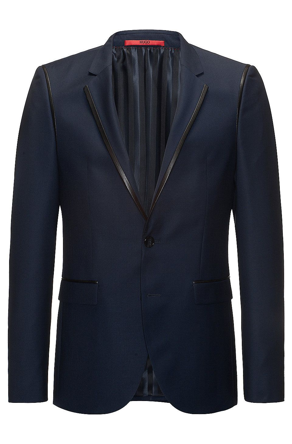 LeatherTrim Wool Sport Coat, Extra Slim Fit Arwet Dark