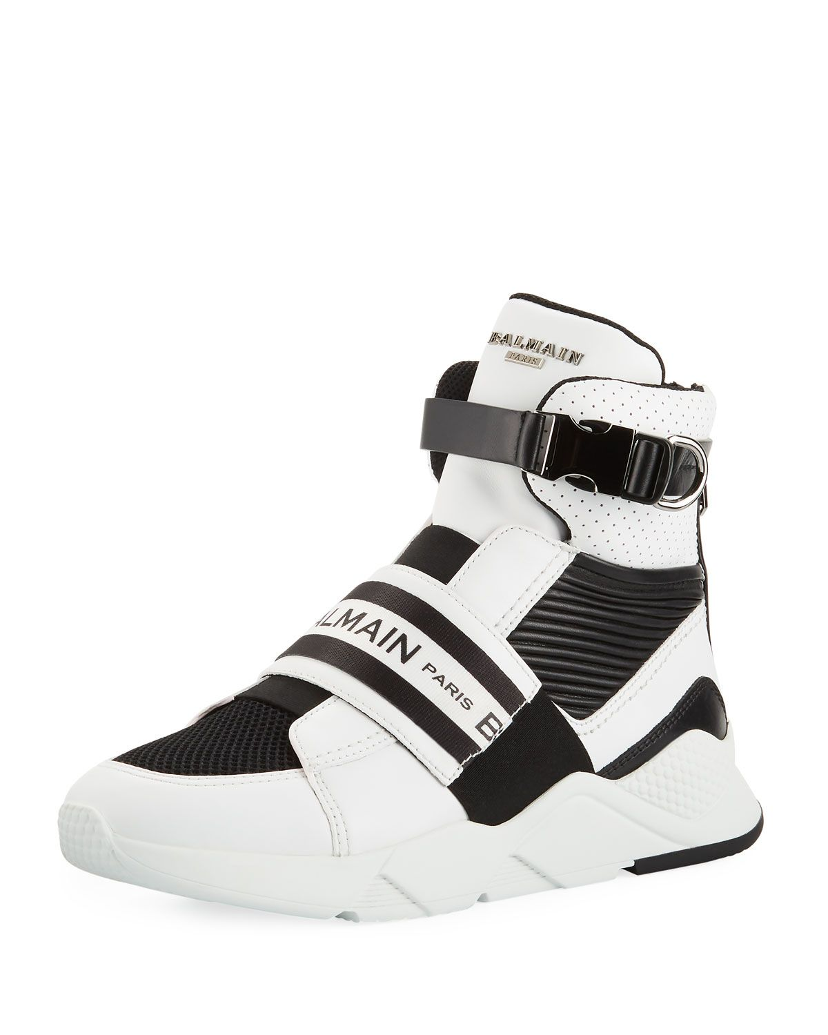 Balmain Men S Exton High Top Sneakers With Contrast Trim Balmain