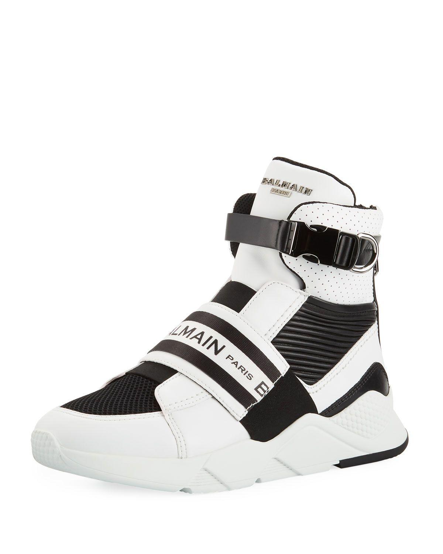 7843f724845 BALMAIN MEN'S EXTON HIGH-TOP SNEAKERS WITH CONTRAST TRIM. #balmain #shoes