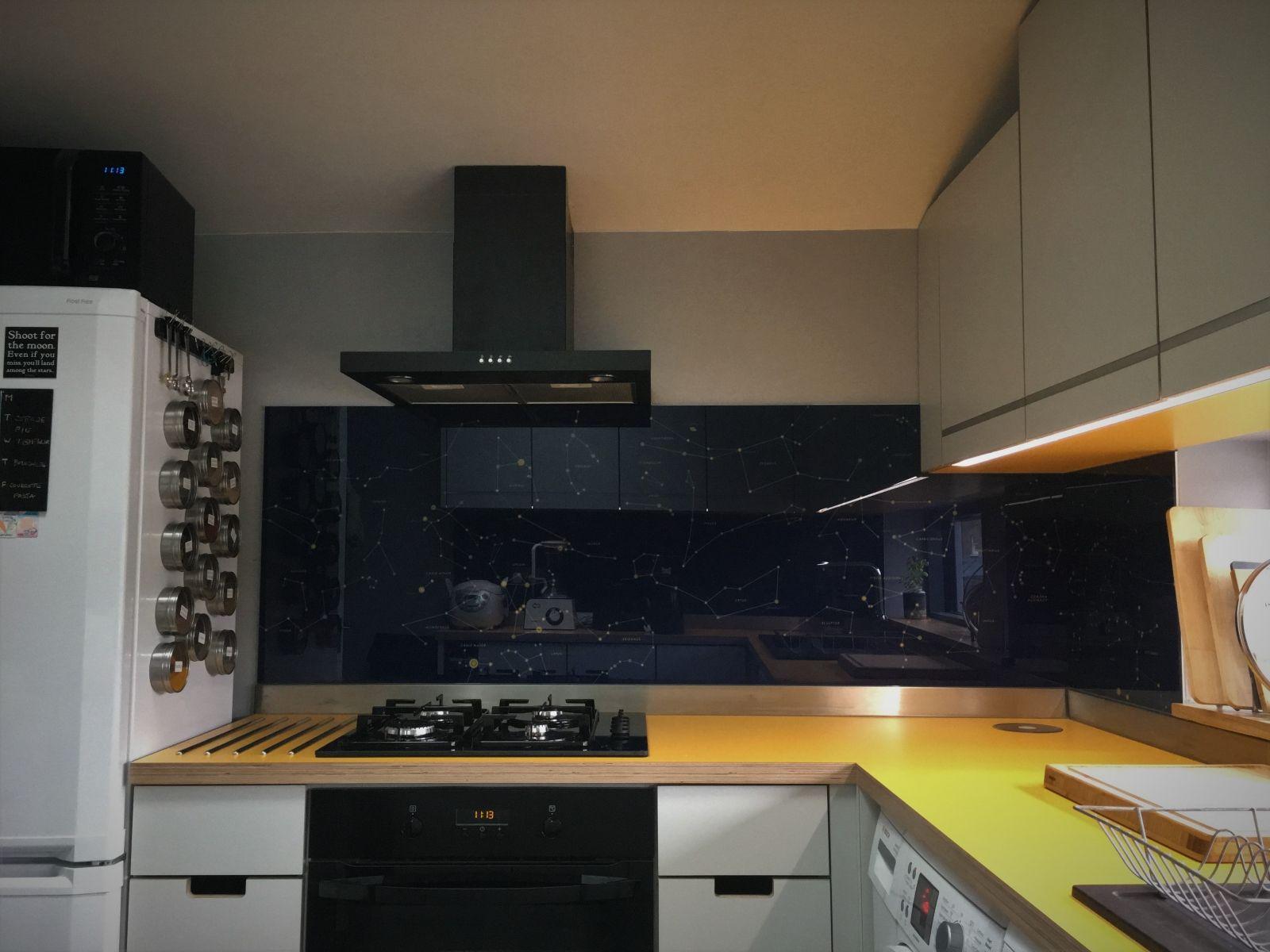 small kitchen glass splashback over laminated birch ply worktop