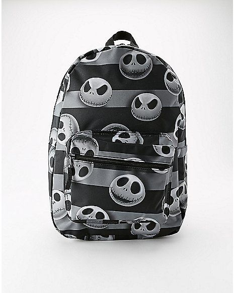 c8fc11720b85 Striped Jack Heads Nightmare Before Christmas Backpack - Spencer s ...