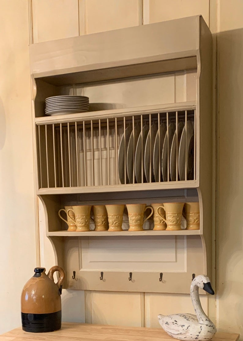 Customize this Large Wood Wall Mounted Farmhouse Plate Rack