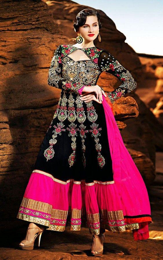 Fantastic Pink And Black Georgette Anarkali Suit SJ901012