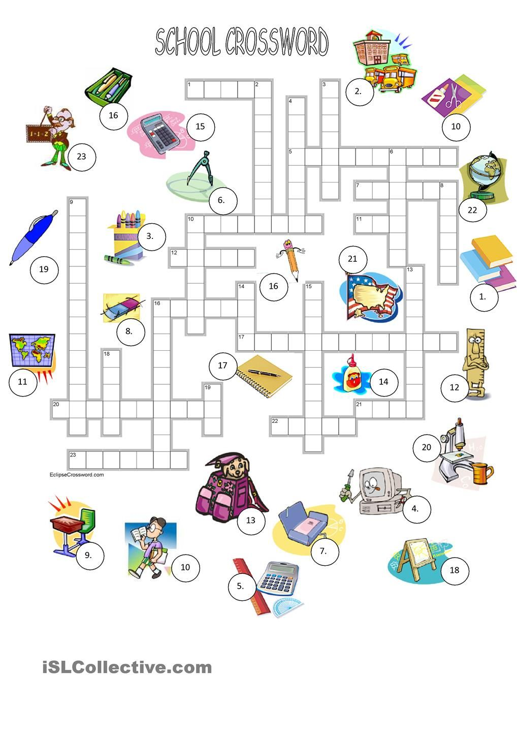 graphic relating to Back to School Crossword Puzzle Printable called College crossword + Primary Clroom English worksheets for