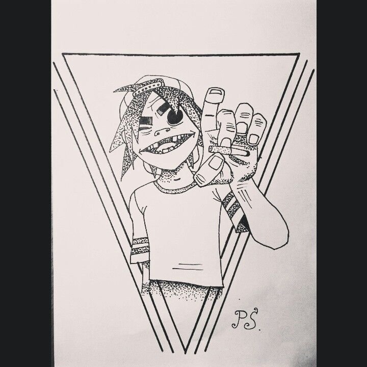 #эскиз #тату #графика #горилаз #дотворк #чб #sketch #gorillaz #dotwork #graphic #bw #tattoo