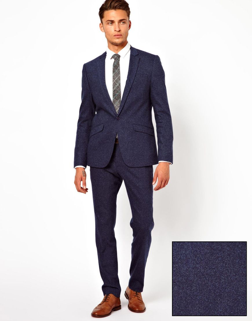 ASOS Skinny Fit Suit Jacket In Navy Fleck | Suits | Pinterest ...