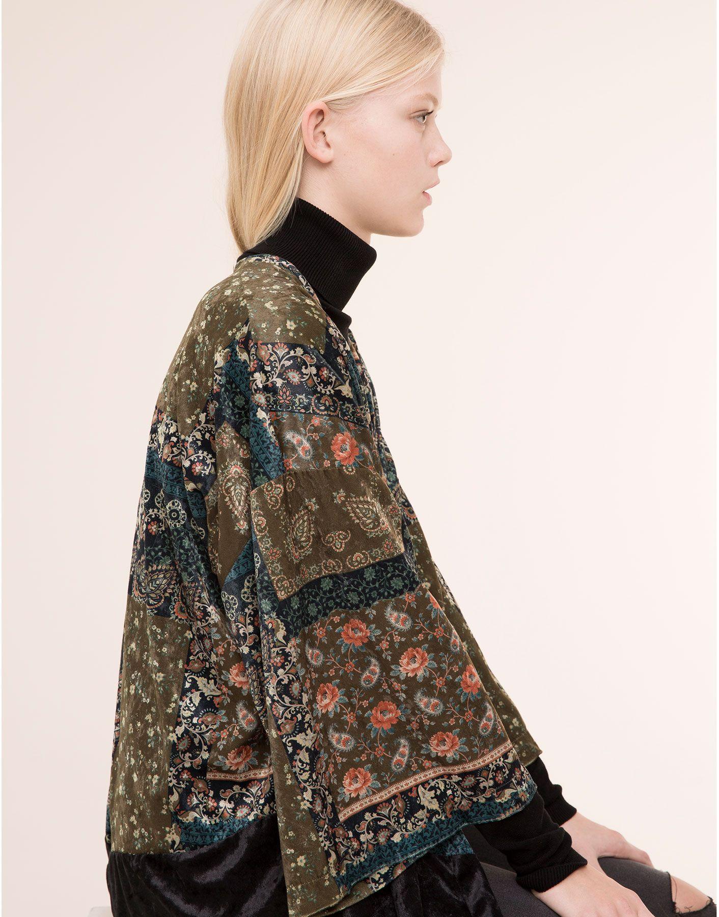 Y Kimono Ponchos Terciopelo Pull amp;bear Kimonos Chaqueta Mujer awqOgtaU