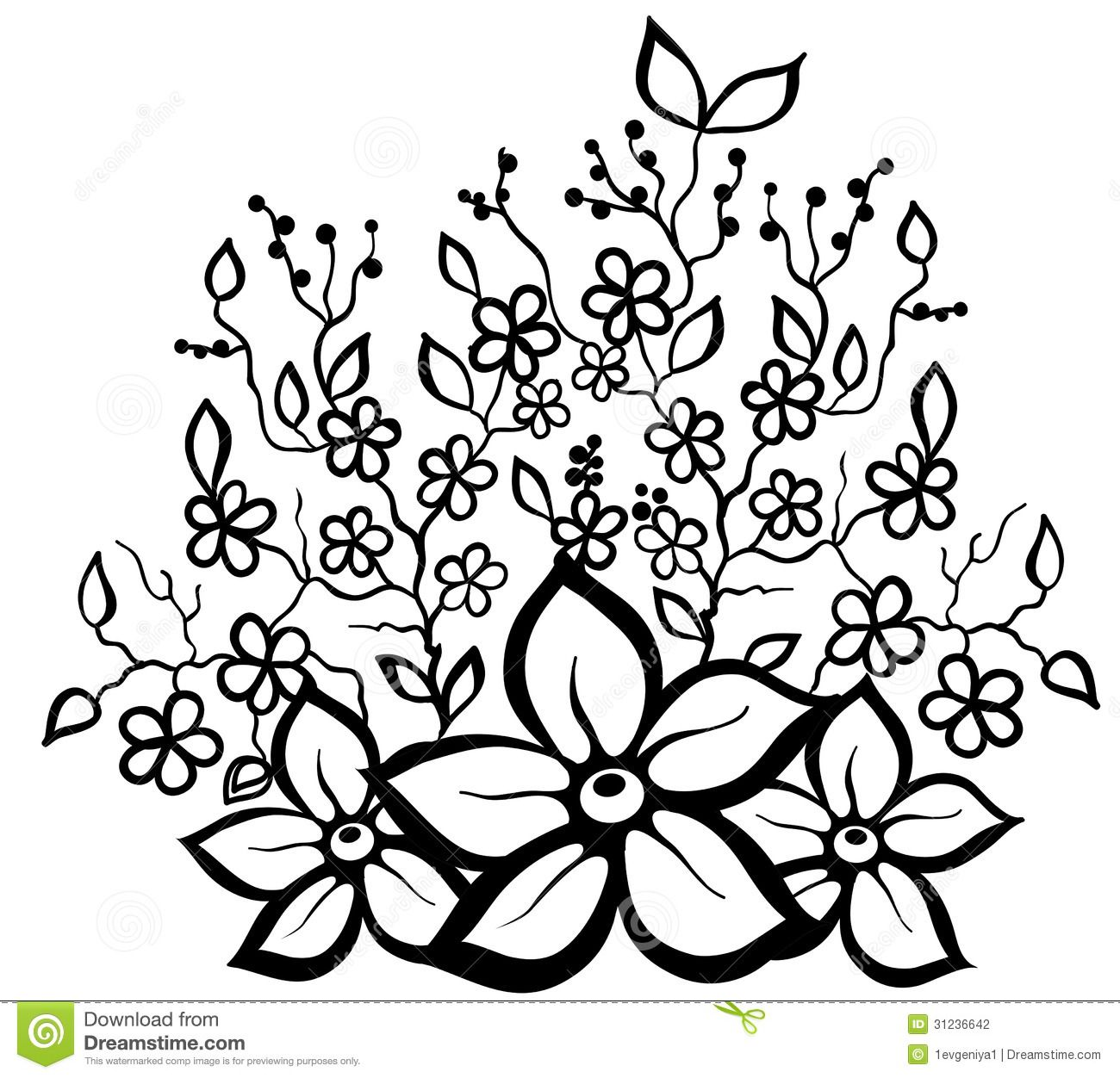 black and white floral pattern design element stock