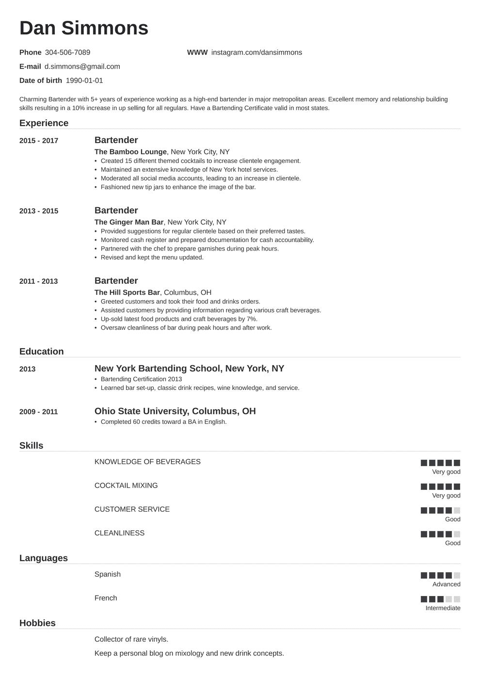 bartender resume sample in 2020  job resume examples