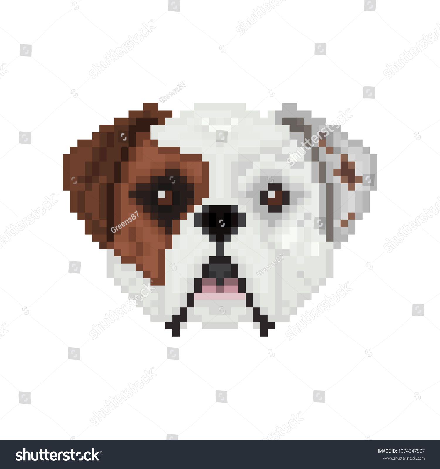 American Bulldog Dog Head In Pixel Art Style Vector Illustration
