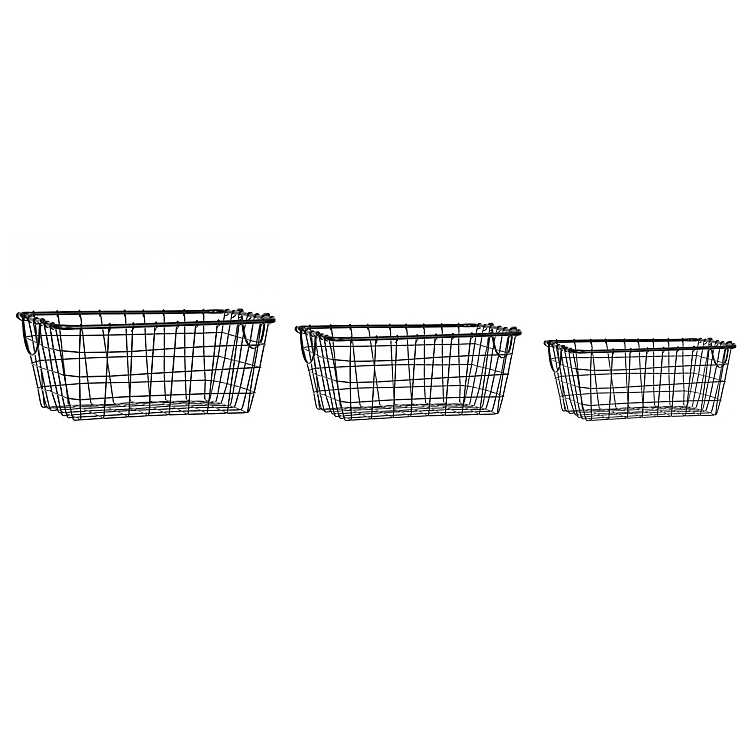 Product Details Black Metal Wire Baskets, Set of 3 images