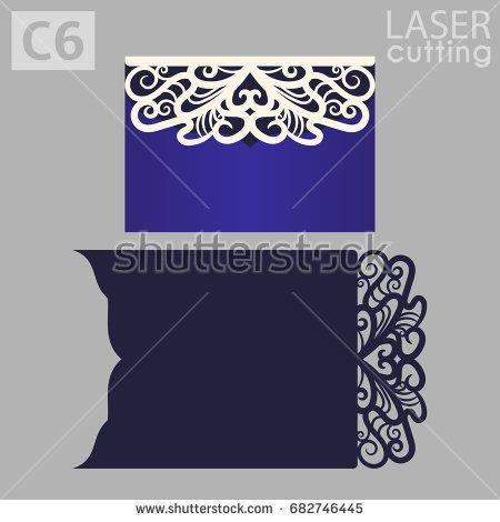 Laser cut wedding invitation card template vector Wedding - greeting card template