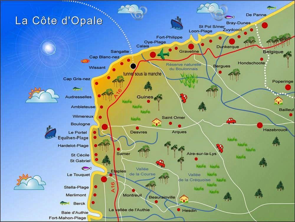carte cote d opale et baie de somme Épinglé sur Equihen Plage Frankrijk