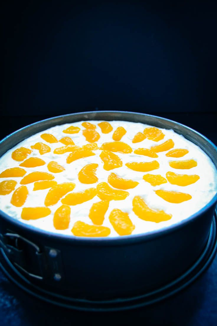 Mandarinen Käsekuchen ohne Boden einfaches Rezept