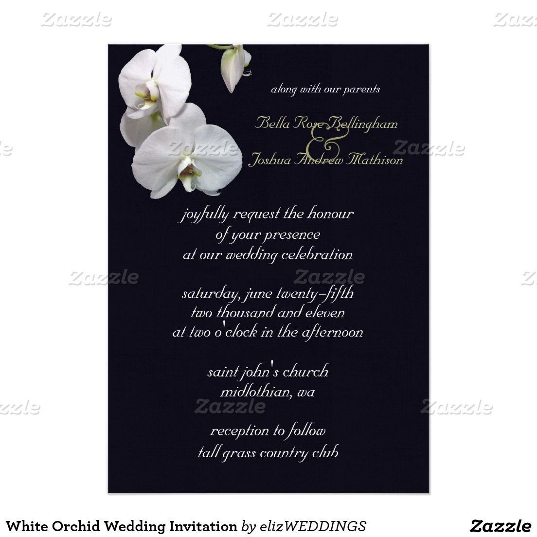 Wedding Officiant Speech Ideas: White Orchid Wedding Invitation