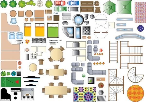 Furniture plan symbols 2d resources sharecg for Scale room planner