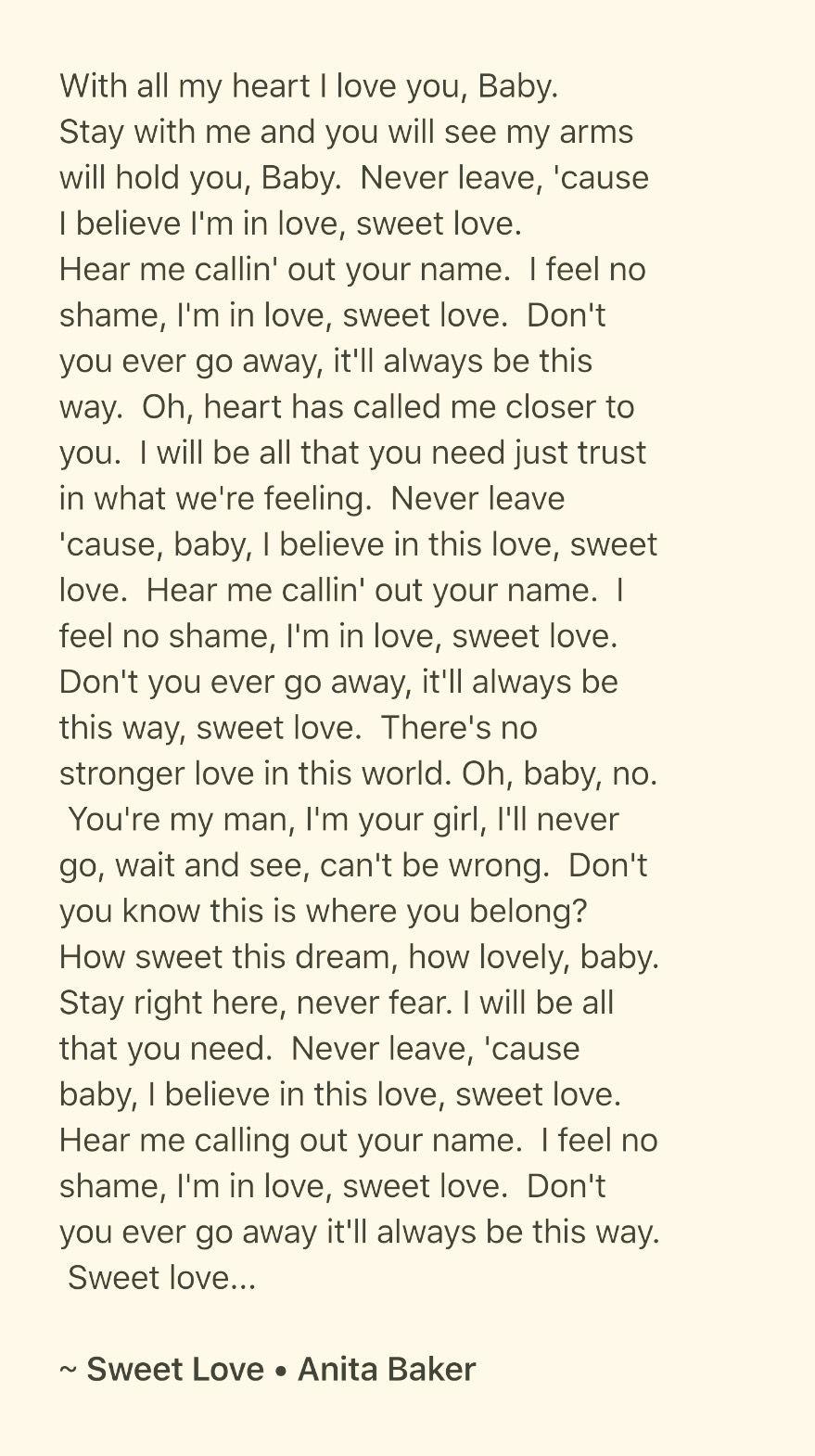 Sweet Love Anita Baker Meaningful Lyrics Love Is Sweet Soul