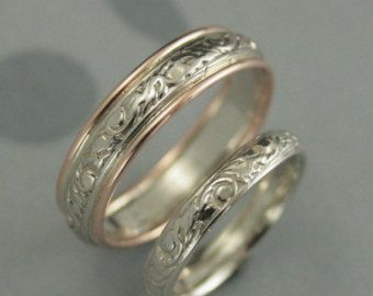 His And Hers Rings Couples Bands Silver Wedding Rings Embossed Etsy Silver Wedding Bands Sterling Silver Wedding Band Antique Style Wedding Rings
