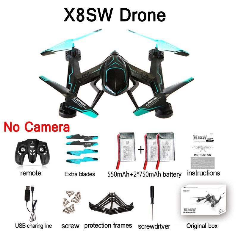 X8SW RC Helicopter FPV Drones Quadcopter 2.4G 4CH 6-Axis RC Quadcopter Drone Can Add Real-time 720p Wifi FPV Or 1080p HD Camera