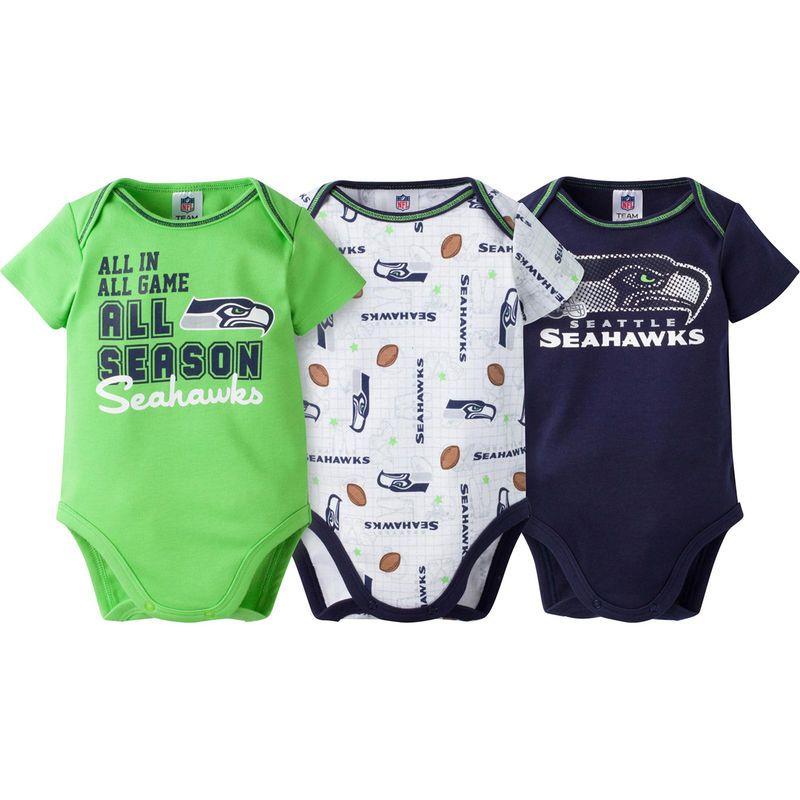 b15527d49 Seattle Seahawks Gerber Newborn   Infant All Season 3-Pack Bodysuit Set -  Neon Green
