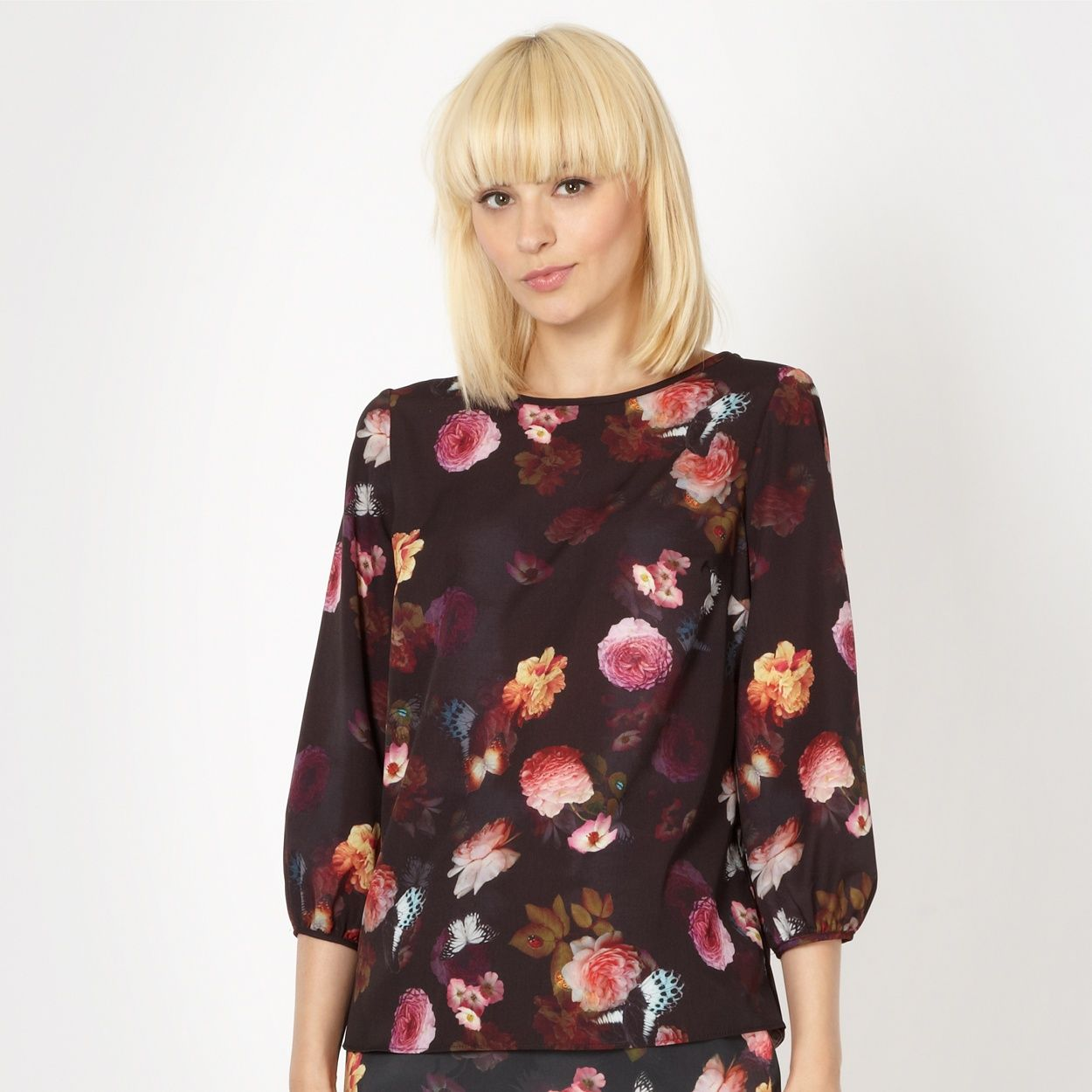 Red herring black flower and butterfly blouse at debenhams