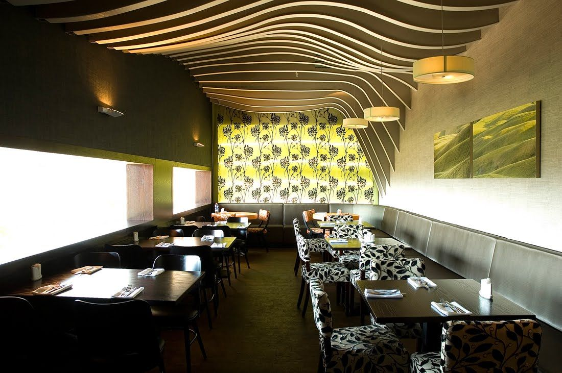 rosso restaurant interior design with leaf pattern, photo rosso