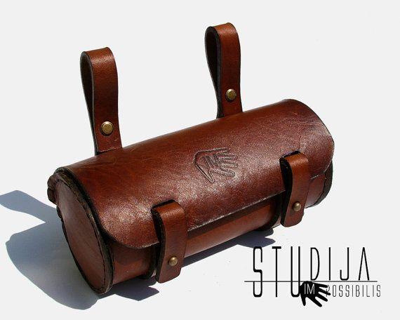 Black Genuine Leather Bicycle Saddle Bag,Tool Bag,Vintage,Brooks,Brompton