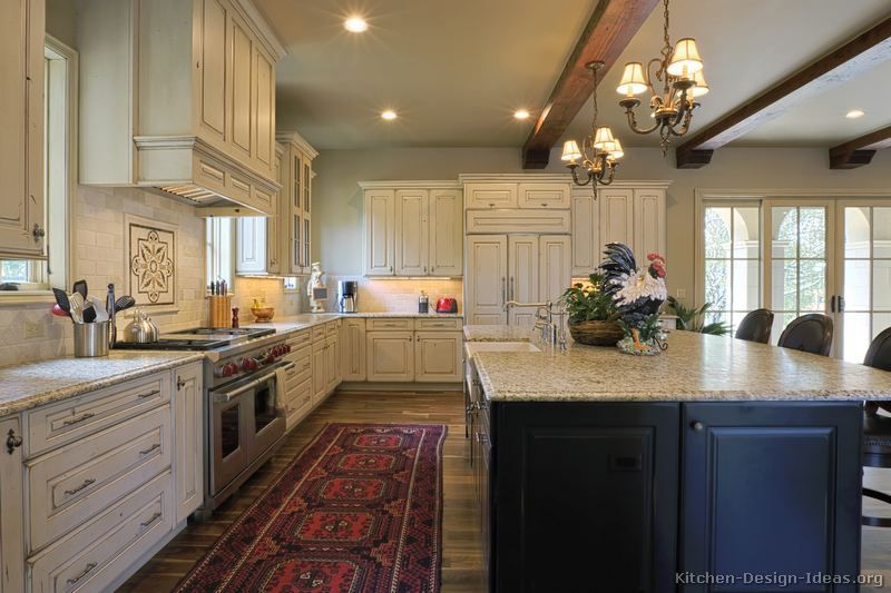 Black And White Traditional Kitchen 27 antique white kitchen cabinets [amazing photos gallery