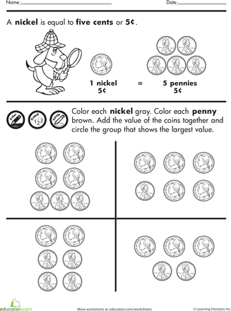 Counting Money For Kids - Nickel Worksheets