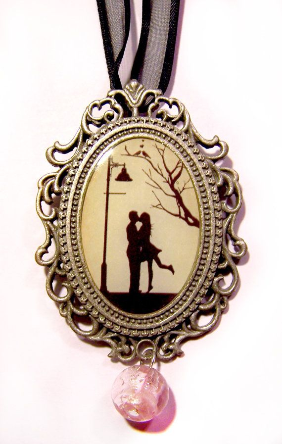 Cute Couple Silhouette Picture Pendant by UncloudedDesigns on Etsy, $8.00