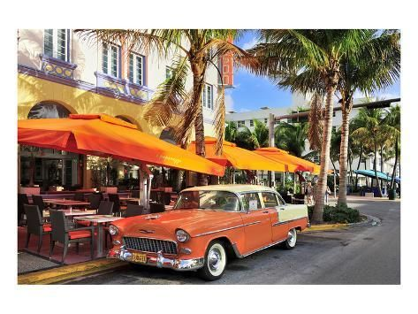 Premium Giclee Print: Classic Car in front of the Paparazzi Restaurant, Ocean Drive : 36x48in