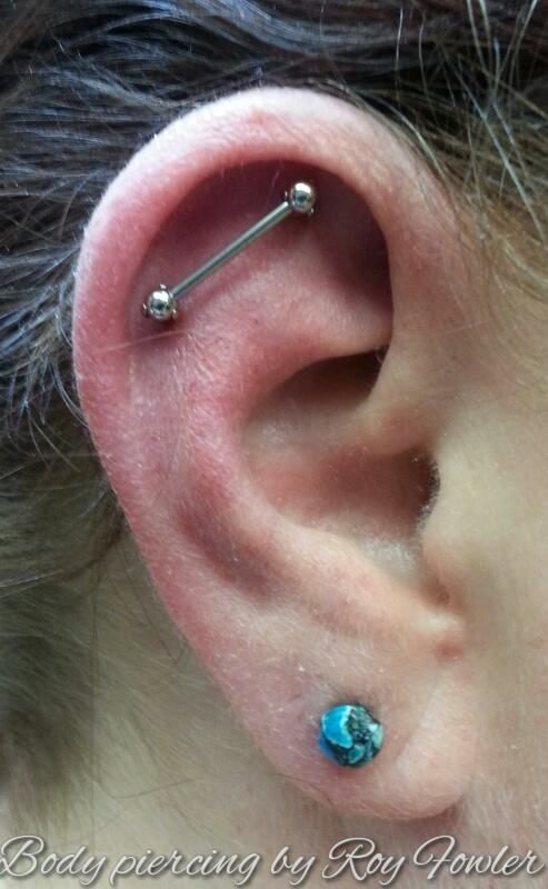 A Floating Barbell Ear Project With Industrial Strength Tattoos