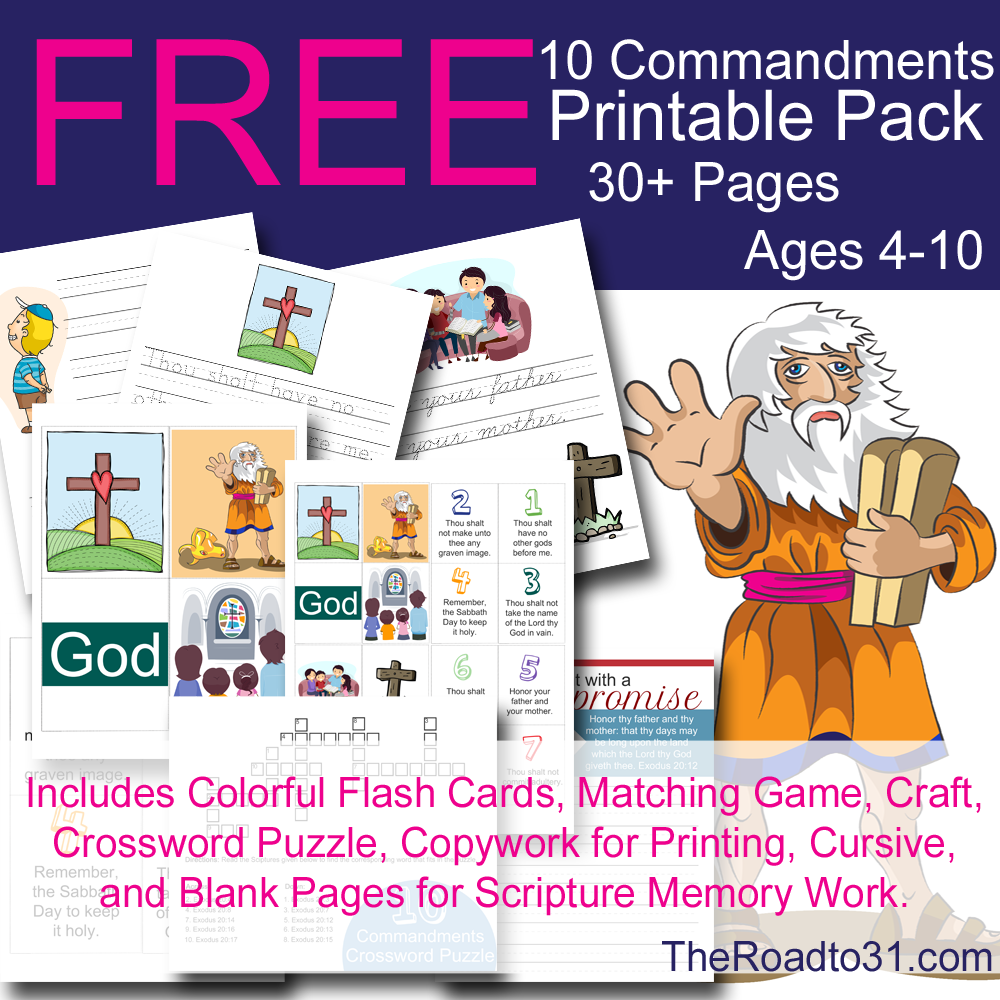 Free Ten Commandment printables - flashcards, bookmarks | CC Cycle ...