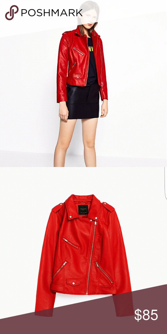 ZARA INTENSE RED FAUX LEATHER JACKET brand new with tags