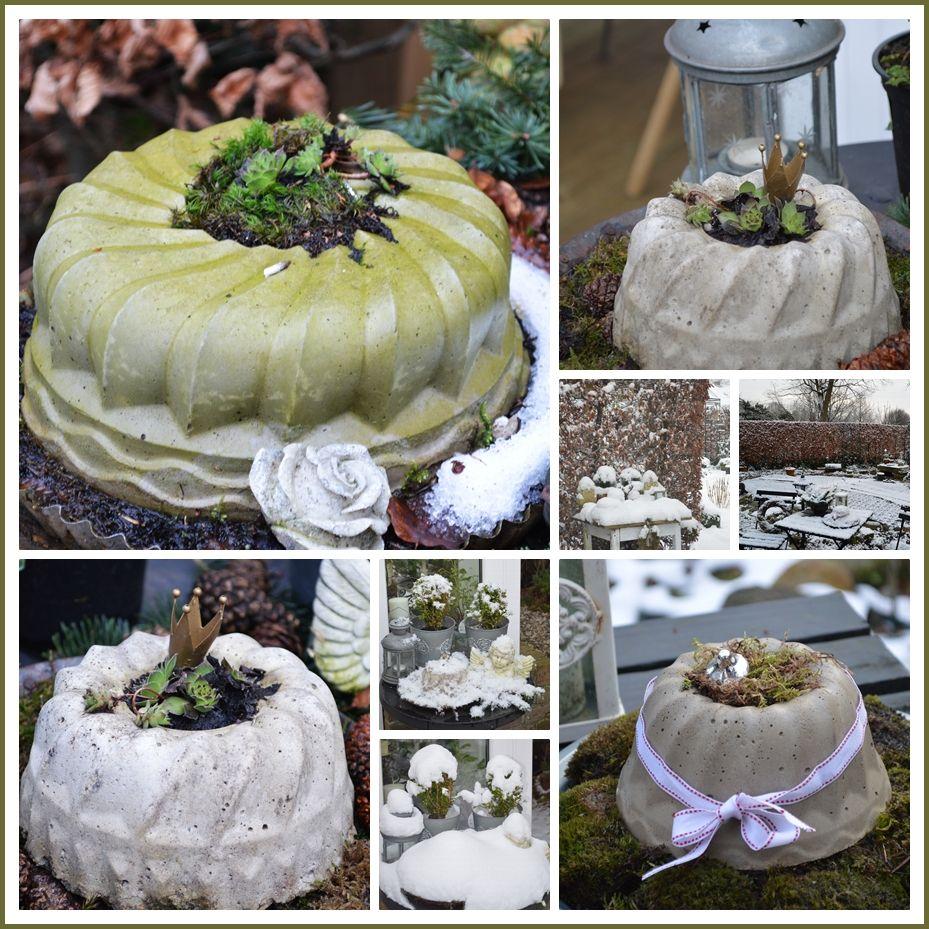 Winterdeko Betonkuchen  Wohnen und Garten Foto  Beton  Pinterest  Garten beton DIY