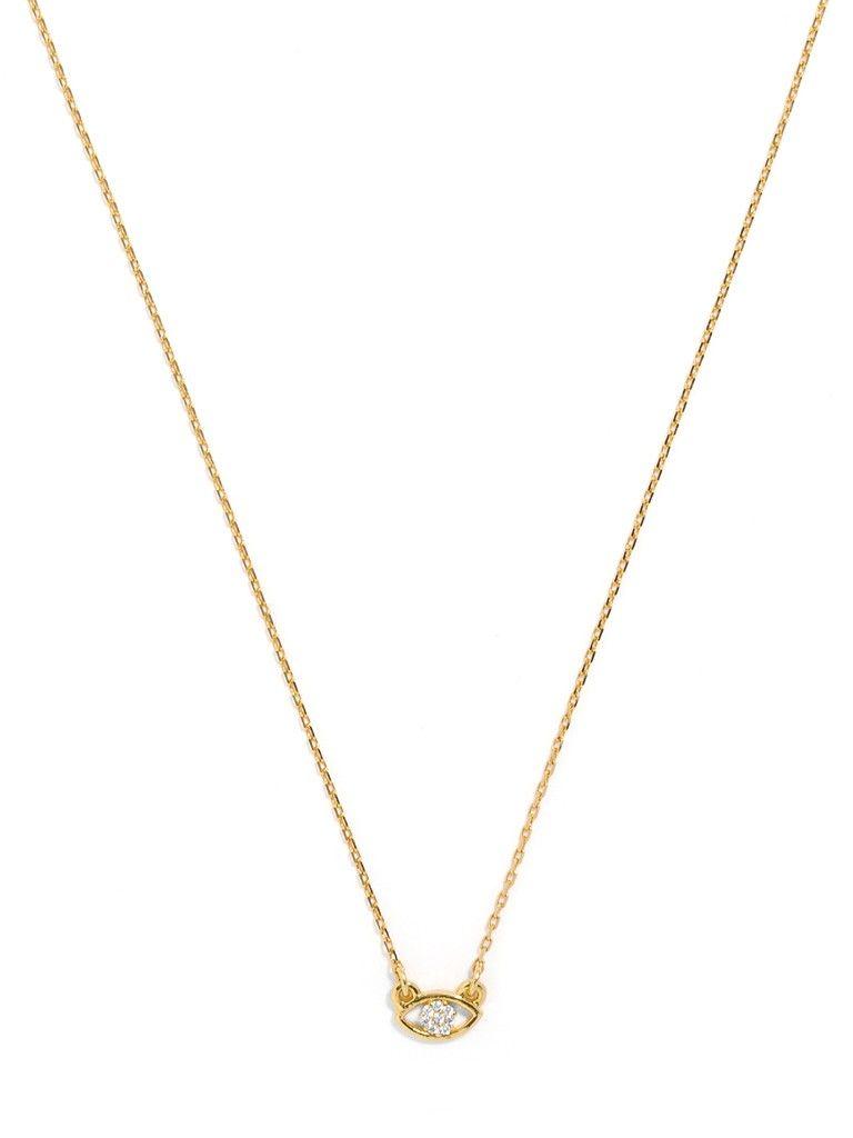 CRYSTAL EVIL EYE PENDANT   A sparkling crystal anchors this minimalist evil eye pendant for an everyday glam good-luck charm.