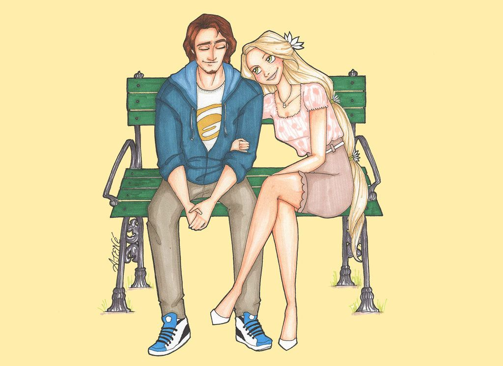 Disney High Couples: Rapunzel and Flynn by skitzzles on deviantART