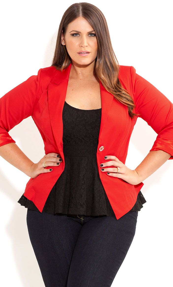 City Chic - ONE BUTTON JACKET - Women's plus size fashion ...