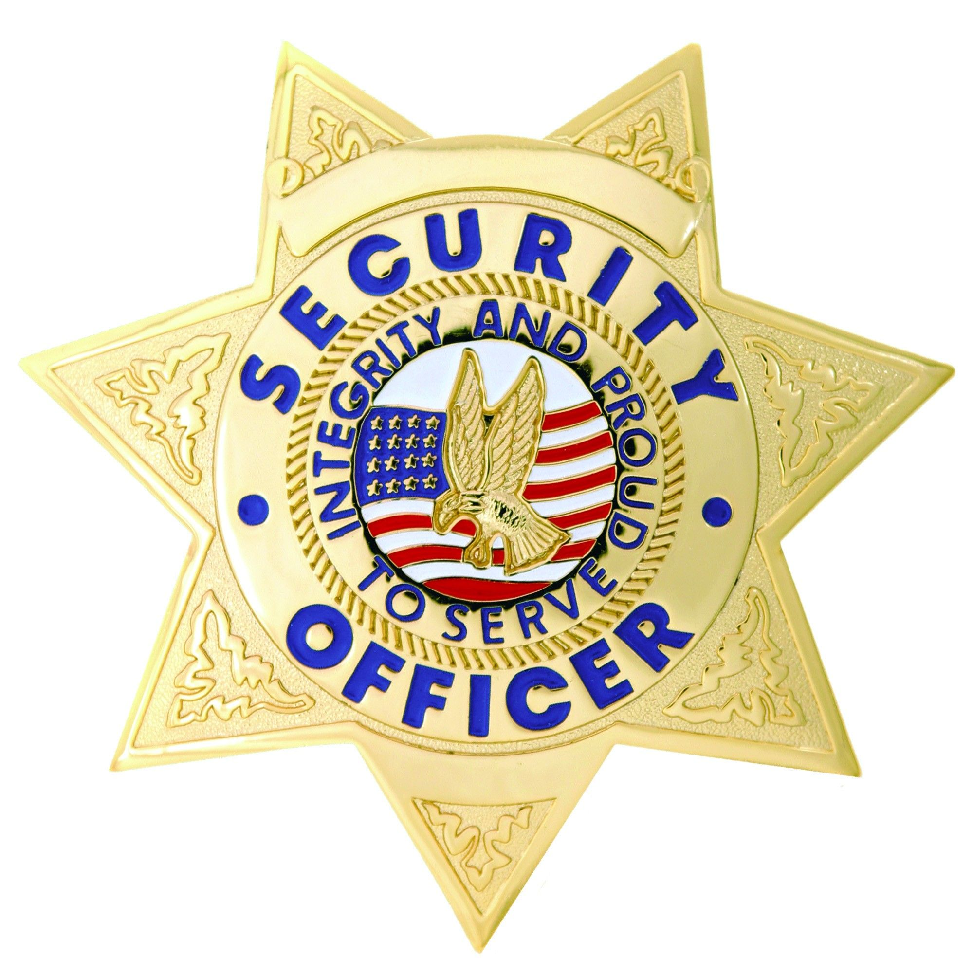 First Class Security Officer Gold 7 Point Star Badge