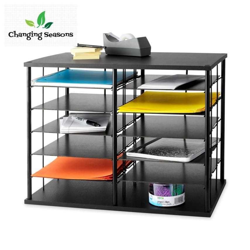 Desk Organizer 12 Slot Desktop Sorter Office Supplies Storage Document Shelf